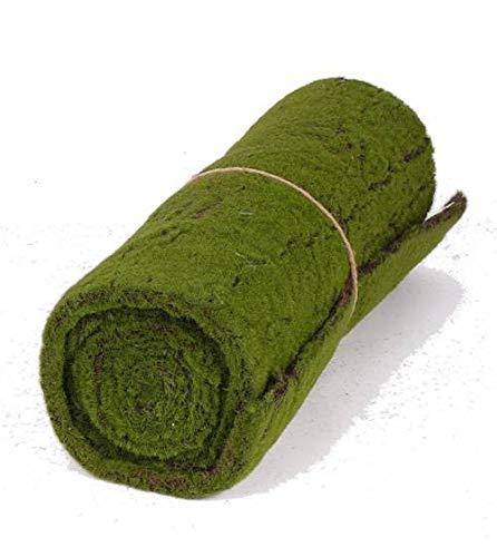 artplants.de Rouleau - Tapis de Mousse Artificielle, Vert-Marron, 205 x 50cm - Tapis décoratif - Herbe Artificielle