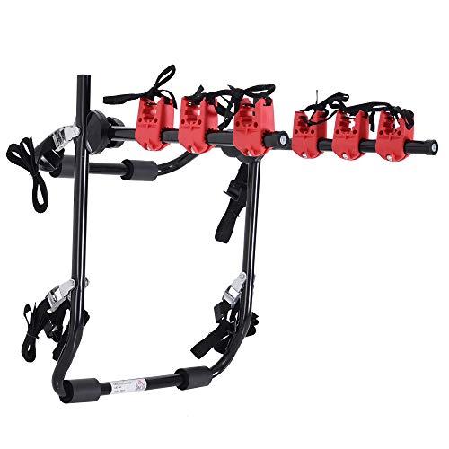 benzoni Portabici per Auto Posteriore Pieghevole 3 Biciclette 40 kg in Acciaio e Alluminio 68x52x60 cm