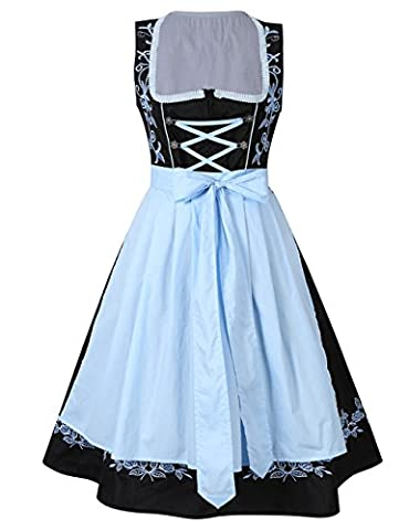 KoJooin Femme Robe Set de Dirndl Chemisier+Sexy robe set 2 Pc Bleu Noir Manches courtes Bavarois Oktoberfest Tablier serveuse Wench Festival 38