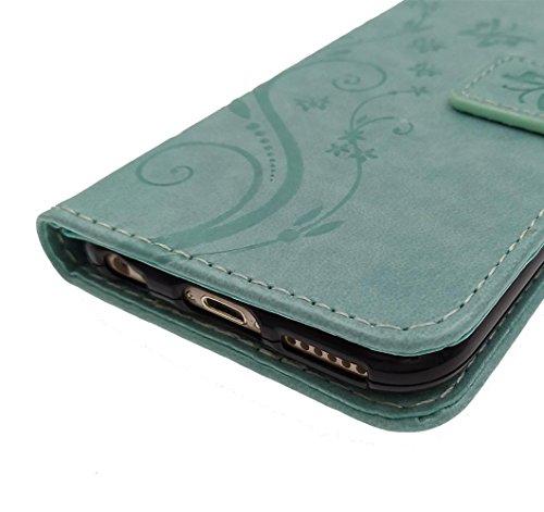 "iPhone 6/6S Plus 5.5"" Hülle, BENKER Qualität PU Maerial Stoßdämpfend Brieftasche Telefone Magnet Slots Kreditkarte Ledercase Tasche Leder Etui Handyhülle [ Schmetterling Muster ] - Schwarz Lila"