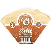 100 Size 4 Coffee Filter Paper Cones, Unbleached by EDESIA ESPRESS
