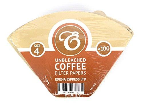 EDESIA ESPRESS - Pack de 100 filtros de papel para café - Forma de cono - Sin blanquear - Marrón - Tamaño 4