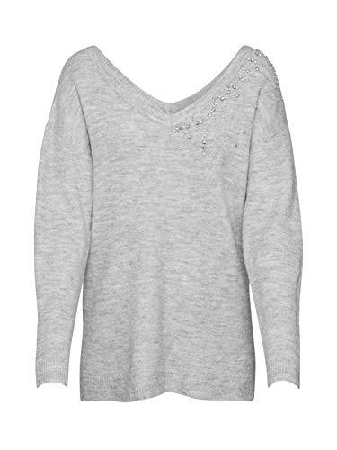Dorothy Perkins Damen Light Grey V-Neck Embellished Jumper Pullover, X-Large -