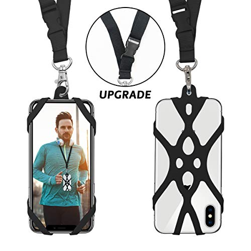 ROCONTRIP 2 in 1 Handy Lanyard Strap Fall Halter mit abnehmbaren Neckstrap Universal foriPhone 8,7 6 S iPhone 6 s Plus, Samsung Galaxy Google Pixel LG HTC Huawei P10 P9 4,7-5,5 Zoll (schwarz) Iphone Ipod Touch Handys