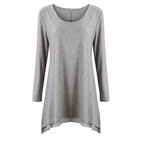 Kleider , Frashing Frauen Langarm Bluse Layered Scoop Neck Tunika Loose Fit Kleid Damen Langarm Kleid Lose T-Shirt Kleid Rundhals Casual Tunika Mini Kleid (XL, Grau) (T-shirt Armee Scoop Neck Womens)