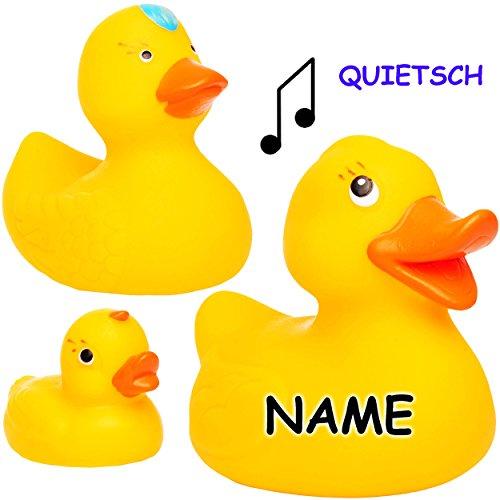 Unbekannt 3 TLG. Quietsch Set -  Enten Familie  - inkl. Name - 10 cm - große Schwimmtiere - ab Geburt - 0 Jahre ! - Quietschtier / Figur Quietschfigur - Schwimmtier -..