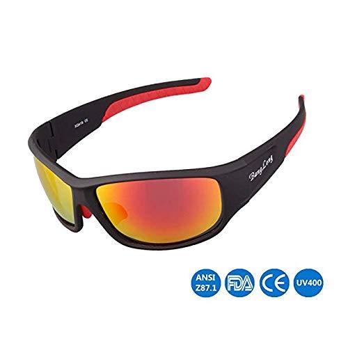 WYBFBYQ Polarisierte Sonnenbrillen für Männer, Schutzbrillen, UV 400-Schutzbrillen, explosionssichere Sonnenbrillen, Anti-Fog, Outdoor-Sportfischen, Sportbrillen,BlackSandRedFeet