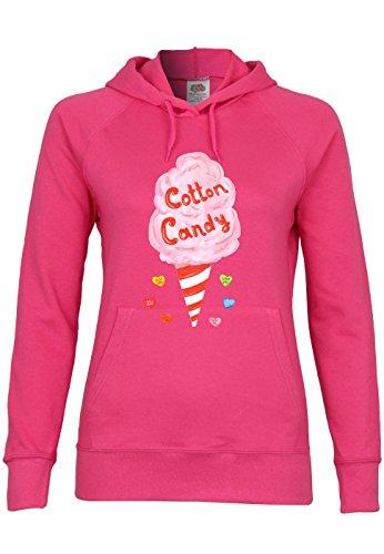 UL154 F435 Damen Kapuzen Sweatshirt Hoodie mit Motiv Cotton Candy, Größe:XS;Farbe:Fuchsia (Candy Fuchsia Cotton)