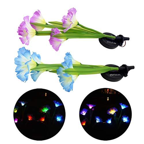 vijtian 7 farbwechselnde Solar-LED-Leuchte für den Außenbereich, Garten, Hof, Rasen, Landschafts-Lampe, 2 Stück zur Dekoration Ihres Gartens - Balkon - Rasen Blue+purple -