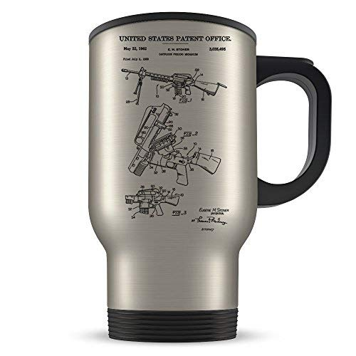 AR 15 Travel Mug for Men and Women AR-15 Coffee Cup for Rifle Enthusiasts Best Gun Themed Gift Idea Cool Semi Automatic Invention Patent -