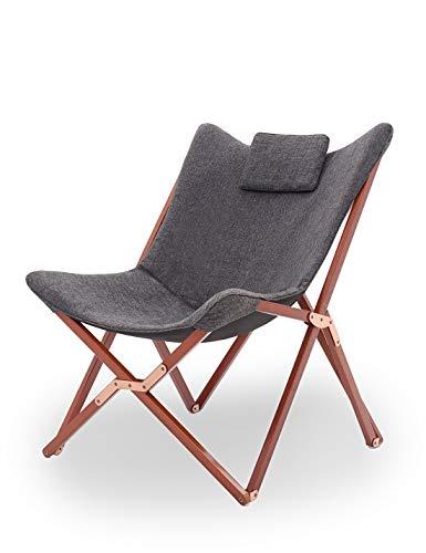 Suhu Klappstuhl Camping Stuhl Lounge Sessel Modern Design Retro Stühle Liegestuhl Klappbar Gartenliege Auflagen Hochlehner TV Relaxliege Mit Holzrahmen Stoff Für Balkon Dunkelgrau