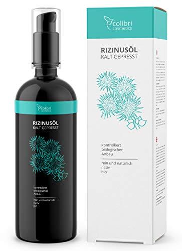 colibri cosmetics Bio Rizinusöl kaltgepresst - der PREIS-LEISTUNGS-SIEGER auf vergleich.org - für weiche Haut, gesundes Haar und kraftvolle Wimpern - 200 ml in Lichtschutz Glasflasche