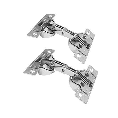 Abgeschrägte 2-tür (LIKERAINY Öffnungswinkel 135° Gehrungsklappe Deckelscharnier mit 35mm Tasse für Möbelschrank Schrank abgeschrägte Tür mit 45° vernickelt Spezialscharniere für Schrankschrank 2 Stück)