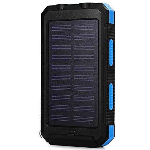 adegerät Solar Power Bank Externe Dual USB 2.1A Dual LED Taschenlampe,Blue ()
