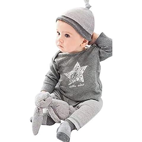 YOUJIA 3pcs Bambino Vestiti Vestito Casual Stella Stampa Manica Lunga Magliette T-Shirt Tops+ Pantaloni e Cappello a strisce