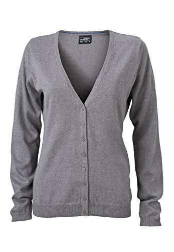 James & Nicholson Damen V-Neck Cardigan Strickjacke, Grau (Grey-Heather), 34 (Herstellergröße: S)