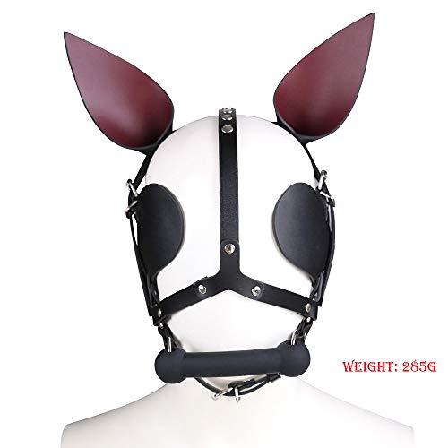 CLII Echtes Leder Hund Gimp Maske Gebunden Slave Cap Erwachsene Geschlechtsspielwaren Spitz Ohr mit Mund Plug Auge Lederhaube Sexy Helm Unisex SM (Gimp Maske Kostüm)
