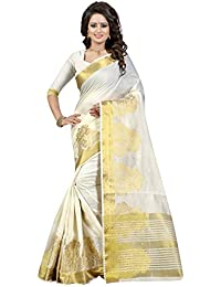 Fancy New Arrivals Cotton Silk Zari Jacquard Work Designer Saree With Blouse Piece(White)