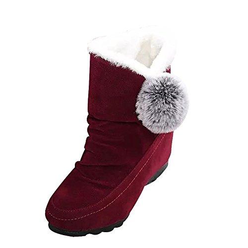 Stiefel Warm Futter Schneeschuhe Bequem Mode Stiefeletten Süß Flache Freizeitschuhe Synthetik Wildlederschuhe Samt Komfortabel Booties BommelmüTze(35 EU,Rot) ()
