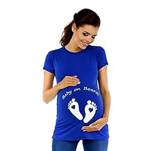 Zeta-Ville-Camiseta-Divertido-para-Embarazadas-de-Beb-pies-para-Mujer-199c-Azul-Real-EU-4446-3XL