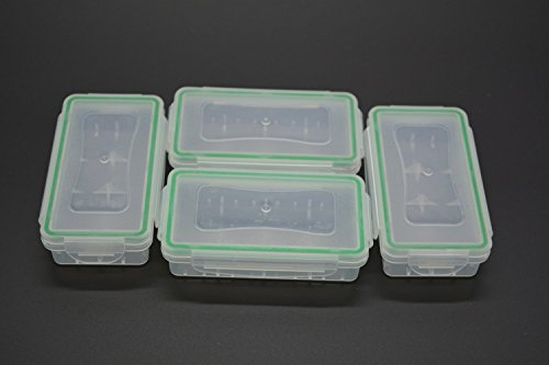 Nuova custodia, Wommty 4pezzi in plastica trasparente impermeabile supporto di memorizzazione organizzatore per batterie batterie 18650/16340/CR123A batterie