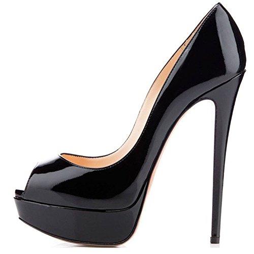 elashe Scarpe da Donna - 15CM Scarpe col Tacco Peep Toe - Classiche Scarpe con Plateau Nero EU41