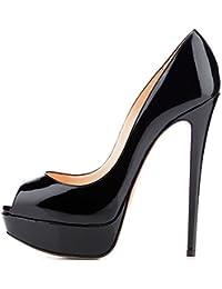 5c93c61e4585 elashe Escarpins Femme Plateforme - 15CM Escarpins Peep Toe - 3CM Plateforme  Talon Chaussures Open Toe