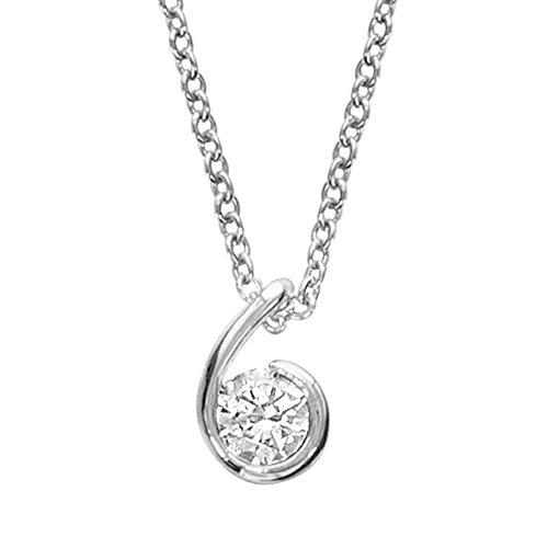 So Chic Schmuck - Damen-Collier Länge Verstellbar: 40 bis 44 cm Form Komma Beistrich Zirkonia Weiß Sterling Silber 925