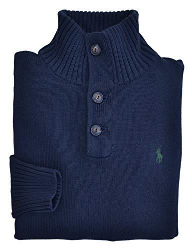 22432d0dac1c39 Ralph Lauren Polo Jumper Mens Button Neck Cashlike Blue Medium