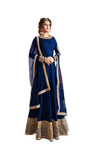 Generic Women\'S Silk Anarkali Salwar Suit Set (Errr100619_Blue_Free Size)