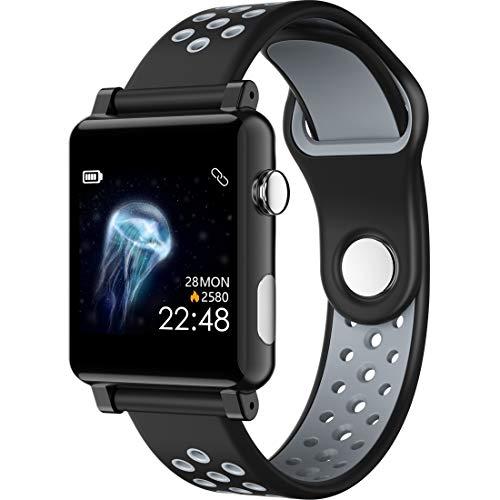 QINGPISHU B71 1.3-Zoll-Farbbildschirm IP67 wasserdichte intelligente Uhr, Unterstützung Nachricht Erinnerung/Blut-Sauerstoff-Monitoring/Blutdruckmessung/Schlafüberwachung Sehen (Farbe : Black Grey) (Watch Clip Auf Gurt)