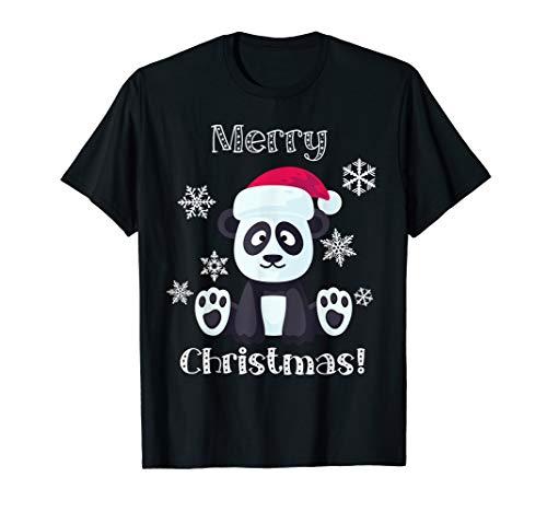 Santa Panda Bär niedliches Tier Frohe Weihnachten T-Shirt