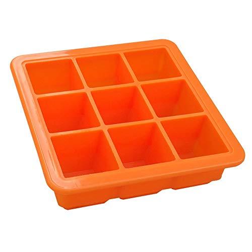 TOUFASI 9-Grid Silikon Eiswürfelschale Mit Deckel DIY Eiswürfelform Babynahrungsergänzungsmittel Box Küche Liefert (Farbe : Orange)
