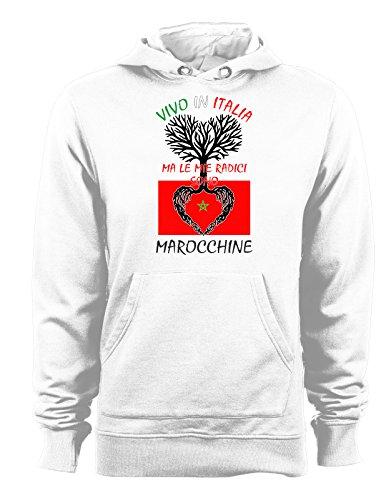 Felpa con cappuccio Vivo in Italia ma le mie radici sono marocchine- Italy - Marocco - humor - idea regalo - in cotone Bianco