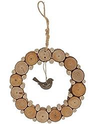 Decoración Hogar Colgante Vendimia Madera Rústica Anular Pájaro del Amor - 38cm