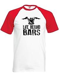 Life Behind Bars Moto Design BaseBall Hommes T-shirt Retro