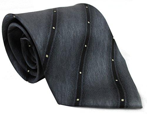 Krawatte Seidenkrawatte aus 100% Seide grau schwarz weiß gestreift R-144 (Seidenkrawatte Geometrische Schwarz)