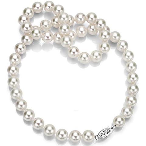 Plata de ley de 7 -  7 5 millimeter. Color de la perla de agua salada Akoya japonés cultivadas AAA collar de gargantilla 40,64 cm, longitud de la