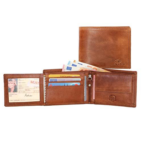 ALMADIH ® Portemonnaie querformat edles Rindsleder Münzfach mit Geschenkbox (P1Q BT-V) Herren Börse Unisex Geldbörse Geldbeutel Portmonee Brieftasche Herrenbörse Cognac Vintage (P1Q Braun Tan)