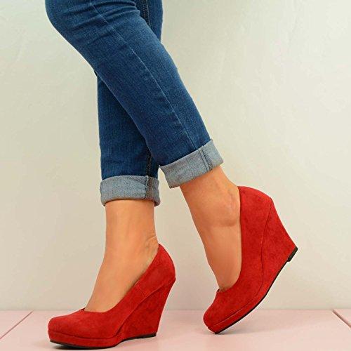 Cucu Fashion , Sandales Compensées femme Rouge - rouge