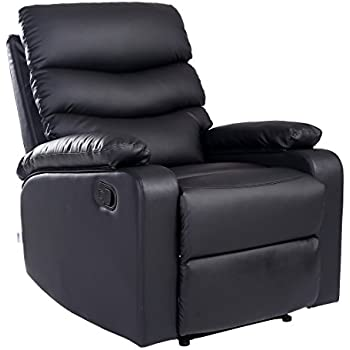 More4Homes ASHBY BONDED LEATHER RECLINER ARMCHAIR SOFA CHAIR RECLINING HOME  LOUNGE (Black)