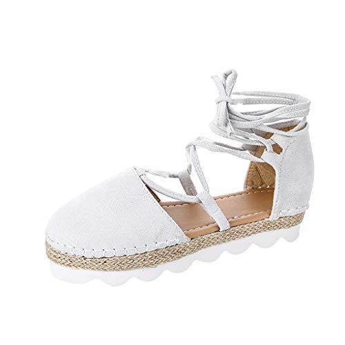 Damen Sandalen Sommer Ttlove Platform Sandals Lace-Up Comfort Outside Frauen Casual Rom Retro MäDchen Block Party Schuhe(Grau,43) Lace Up Platform Sandal
