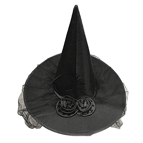 RANRANHOME Halloween Hexe Hat Kostüm-Party Rose Mesh Dekoration Ronronhome,Black (Black Rose Hexe Kostüm)