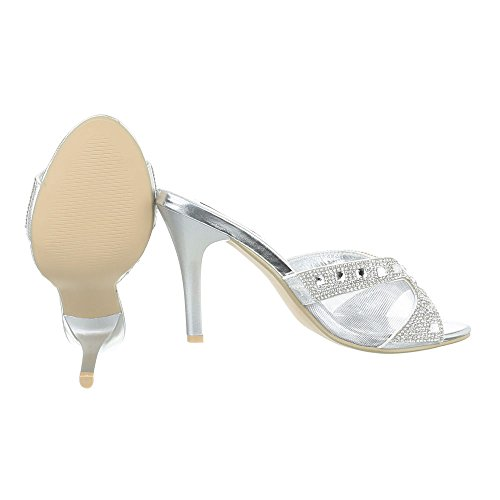 Pantoletten Damen Schuhe Jazz & Modern Pfennig-/Stilettoabsatz High Heels Ital-Design Sandalen / Sandaletten Silber CHphd