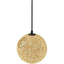Gazechimp 20CM Lámpara de Techo Diseño con Bola con Agujero de Hierro + Bambú Rattan