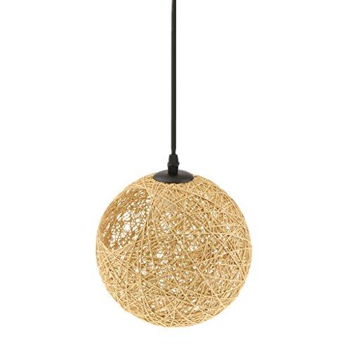 Gazechimp 20CM Lámpara de Techo Diseño con Bola con Agujero de Hierro + Bambú Rattan Accesorio Decorativo de Cafetería de Hogar - de lino