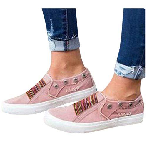 Low Übergrößen Sportschuhe für Damen/Dorical Frauen Slip on Canvas Sneakers, Casual Turnschuhe, Bequeme Outdoor Fitnessschuhe, Leichte Halbschuher Damenschuhe 35-43 EU Ausverkauf(Rosa,36 EU)