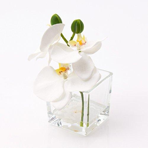 Künstliche Orchidee Phalaenopsis im Glas, weiß, 15cm, Ø15cm - Deko Kunstblume - artplants