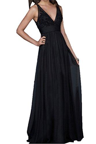 ivyd ressing Donna Elegant scollo a V pizzo Rueckenfrei Party Festa Prom abito abito sera vestito Nero