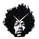 Wall Clock Rock Electric Guitar Jimmy Hendrix Fashion Creative Vinyl Cd Disc Wall Clock Home Decoration Wall Charts,Black,S